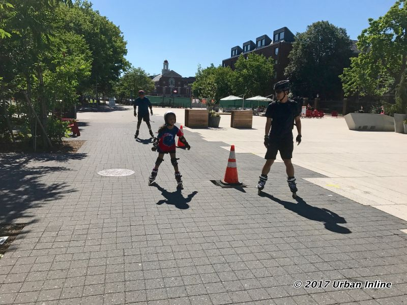 Skating through the newly renovated Harvard University Plaza